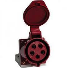 Розетка стаціонарних сис. зовнішня 115 16А (240-415В) 5 контак. (3P + N + E) Червоний