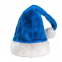 Шапка новогодняя меховая синяя