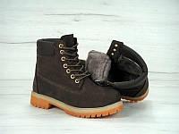 Женские зимние ботинки Timberland с мехом (brown)