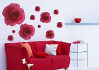 Наклейка на стену, виниловые наклейки, стикеры 3D-красные Розы цветы (лист 50*70см)