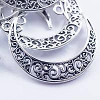 Коннектор полумесяц, античное серебро, 2 отверствия