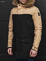 Зимняя куртка парка мужская удлиненная с капюшоном STF tor beige and black бежевая, с мехом, молодежная 2017