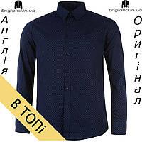 Рубашка мужская темно-синия длинный рукав Pierre Cardin из Англии