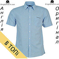 Рубашка мужская Pierre Cardin светло-синяя на короткий рукав   Сорочка чоловіча Pierre Cardin світлосиня