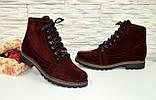 Ботинки женские зимние замшевые бордового цвета, фото 2