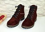 Ботинки женские зимние замшевые бордового цвета, фото 3
