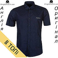 Рубашка мужская Pierre Cardin летняя темносиняя на короткий рукав | Сорочка чоловіча Pierre Cardin темносиня