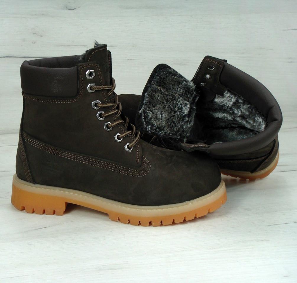 Зимние ботинки Timberland brown с мехом (Реплика ААА+)