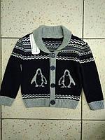 Детская теплая кофта Пингвины на мальчика 5-6л