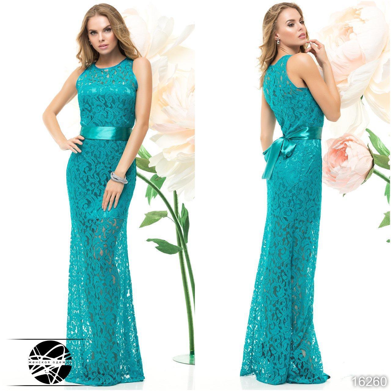 6b24bc43cccfb39 Гипюровое вечернее платье макси голубого цвета без рукава. Модель 16260