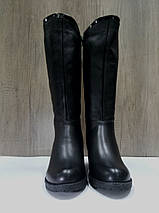 Зимние женские кожаные сапоги МИДА 24672 черные на маленьком каблуке., фото 2