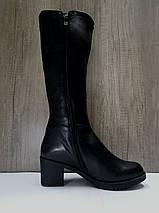 Зимние женские кожаные сапоги МИДА 24672 черные на маленьком каблуке., фото 3