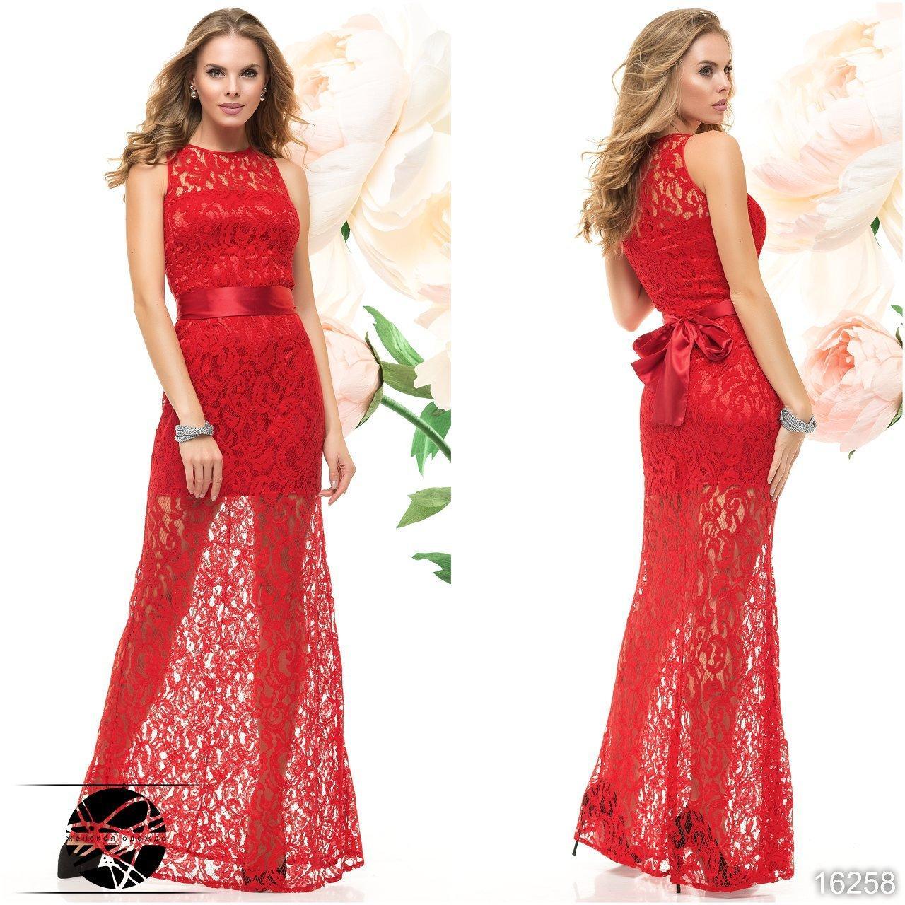 66f67bccaf1 Гипюровое вечернее платье макси красного цвета без рукава. Модель 16258 -  Irse в Одессе