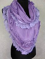 Женская теплая фиолетовая косынка из акрила с ажурной отделкой (2)