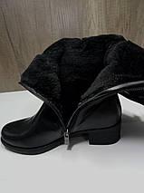 Зимние женские сапоги МИДА 24601 черные кожаные на маленьком каблуке на широкую голень., фото 3
