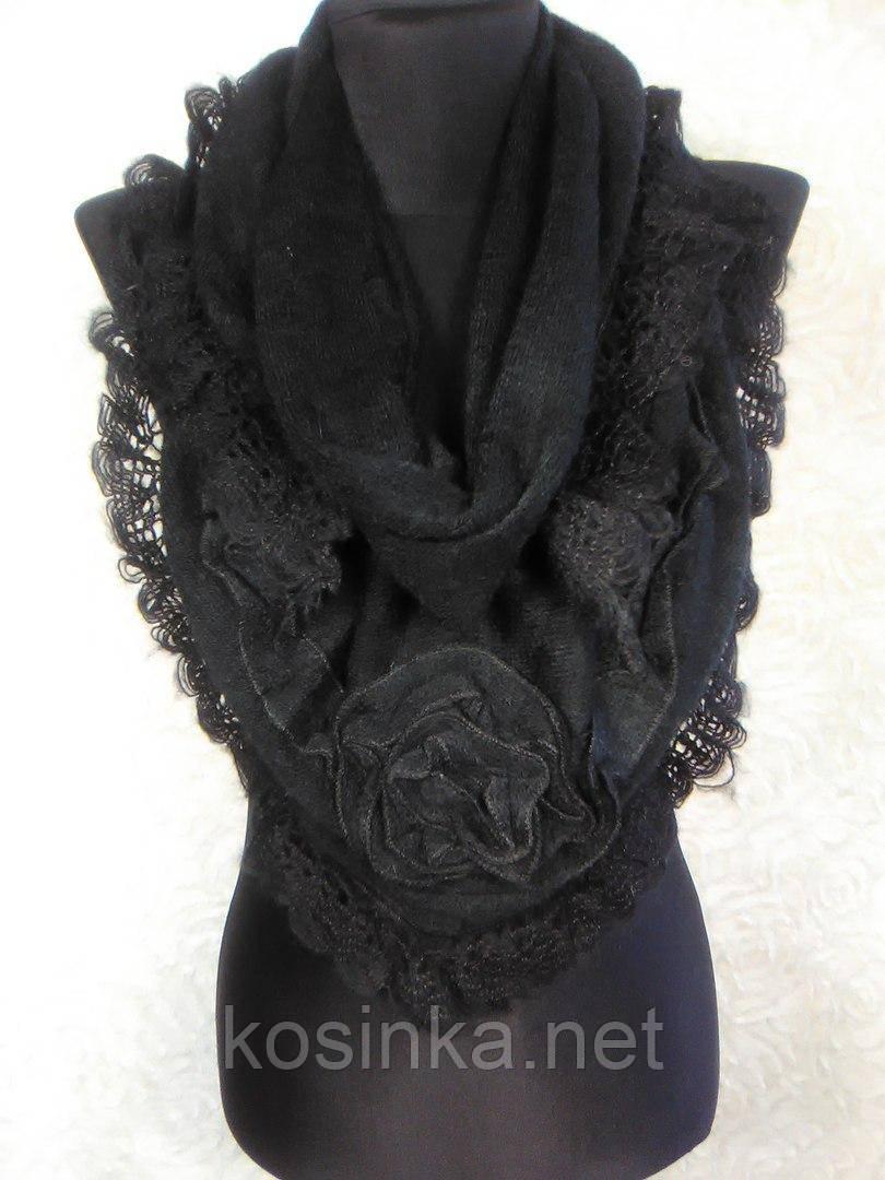 Женская теплая черная косынка из акрила с ажурной отделкой - Kosinka.net