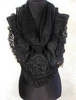 Женская теплая черная косынка из акрила с ажурной отделкой (4)