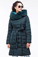 Модное зимнее пальто пуховик с мехом мутона