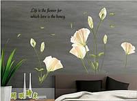 """Наклейка на стену, наклейка цветок, наклейки на шкаф """"Лилии"""", наклейки на окна 135*97см (лист60*90см)"""