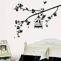 """Наклейка на стену, виниловые наклейки, украшения стены наклейки """"Птички в клетке """" (лист 50*70см)"""