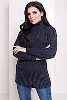Женский вязаный свитер цвета графит с воротником под горло. Модель 20171
