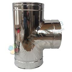 Тройник-сэндвич 87° для дымохода d 100 мм; 0,5 мм; AISI 304; нержавейка/нержавейка - «Версия Люкс»