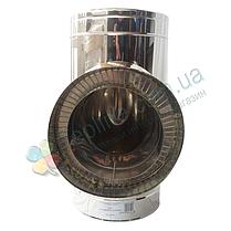 Тройник-сэндвич 87° для дымохода d 130 мм; 0,5 мм; AISI 304; нержавейка/нержавейка - «Версия Люкс», фото 2