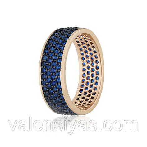 Кольцо серебряное с позолотой и синими камнями КК3ФС1/373, фото 2