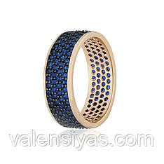 Кольцо серебряное с позолотой и синими камнями КК3ФС1/373