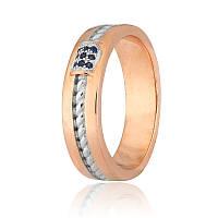 Позолоченное кольцо с синими камнями из серебра КК42ФС/900