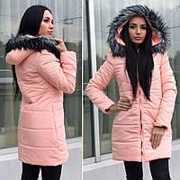 Тёплая удлинёная женская куртка пальто с мехом персиковое 42,44,46