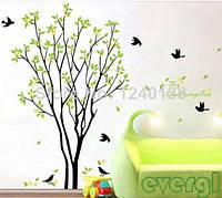 """Наклейка на стену, украшения стены наклейки  """"дерево с птицами"""" Высота дерева 1м20см (лист60*90см)"""