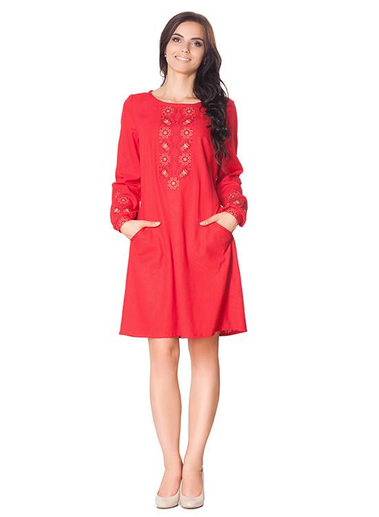 Вышитое платье свободного покроя (S-3XL в расцветках)