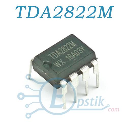 TDA2822M, низковольтный, 2-х канальный усилитель НЧ, DIP8