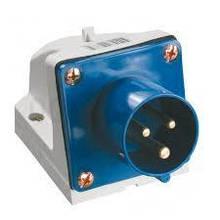 Вилка стаціонарна 523 32А 220-250 3 контакту (2P+E) IP44 Синій