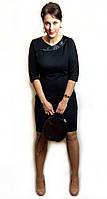 Черное женское платье с атласным воротником П191