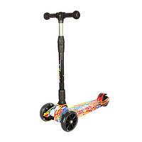 Самокат детский Scooter Smart Itrike Cool Draft до 80 кг широкие светящиеся колеса и складывание руля наклоном