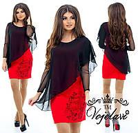 Платье Ткань- дайвинг + шифон + сетка + стразы DMS, 3 цвета арт 2666-92