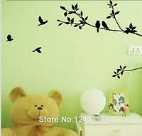 """Наклейка на стену, виниловые наклейки, украшения стены наклейки """"Птички на дереве"""" 100см*57см (1лист60*24см)"""