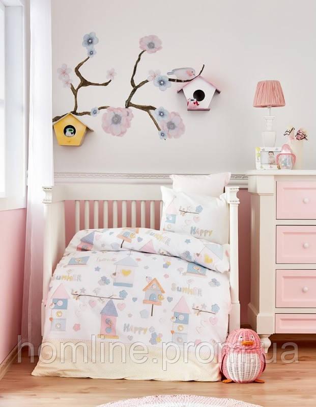 Постельное белье для младенцев Karaca Home ранфорс Happy розовое