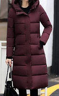 Удлиненное пальто бордовое