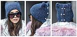 Стильная вязаная шапка с ушками и камнями в расцветках, фото 4
