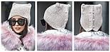 Стильная вязаная шапка с ушками и камнями в расцветках, фото 5