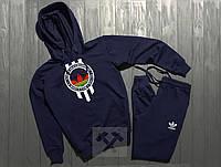 Спортивный трикотажный костюм адидас с капюшоном | adidas цветное лого
