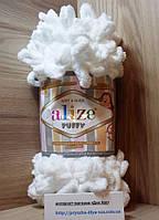Пряжа для вязания руками (100%-микрополиэстер, 100г/9,2м) Alize PUFFY 55 (белый)
