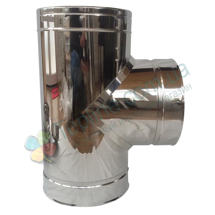 Тройник-сэндвич 87° для дымохода d 150 мм; 0,5 мм; AISI 304; нержавейка/нержавейка - «Версия Люкс»