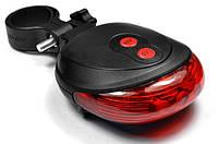Свет задний DW-681/9301, 5LED+2LASER, 2xAAA, Waterproof