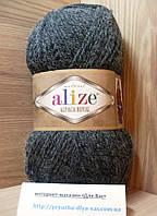Зимняя пряжа (15%-шерсть, 30%-альпака, 55%-акрил,100 г/250 м) Alize Alpaca Royal 182(серый меланж)