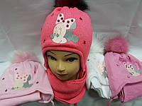 Комплект красивый шапка с бубоном с шарфом на завязку для девочки Микки Маус Розовый