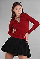 Бордовая модная женская футболка поло с длинным рукавом с воротником Th 85